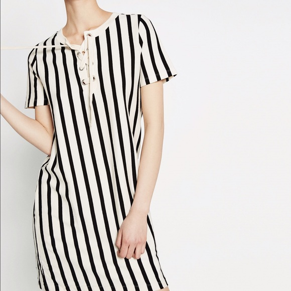 7da86f3dc1ac Zara Dresses | Vertical Striped Dress With Cords | Poshmark