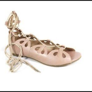 Wrap-Around Beige Lace-up Sandals