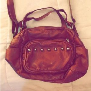 Brown faux leather cross body slouchy bag