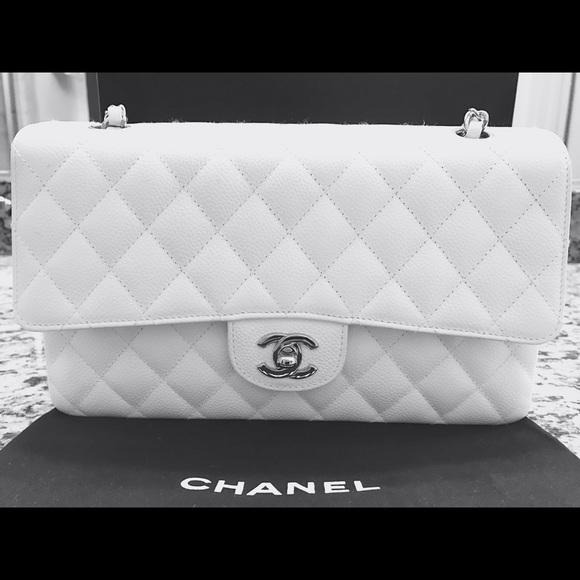 CHANEL Handbags - CHANEL classic flap medium bag white silver hw 17abb87074909
