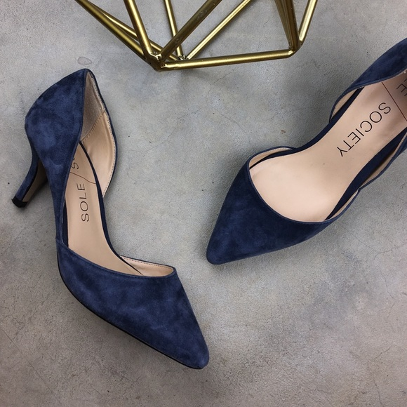 Sole Society navy blue suede pointed toe low heels.  M 57ecb11898182932eb00bf48 1020d453694c
