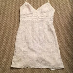 Muse Refined Dresses & Skirts - White Lace Fitted Spaghetti Strap Dress Size 14