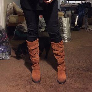 Jeffrey Campbell Cognac Suede Boots