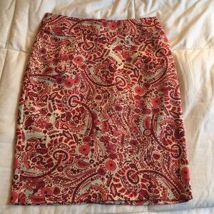 LOFT Paisley Print Pencil Skirt