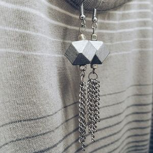 *HOST PICK* Silver Geometric Chain Tassel Earrings