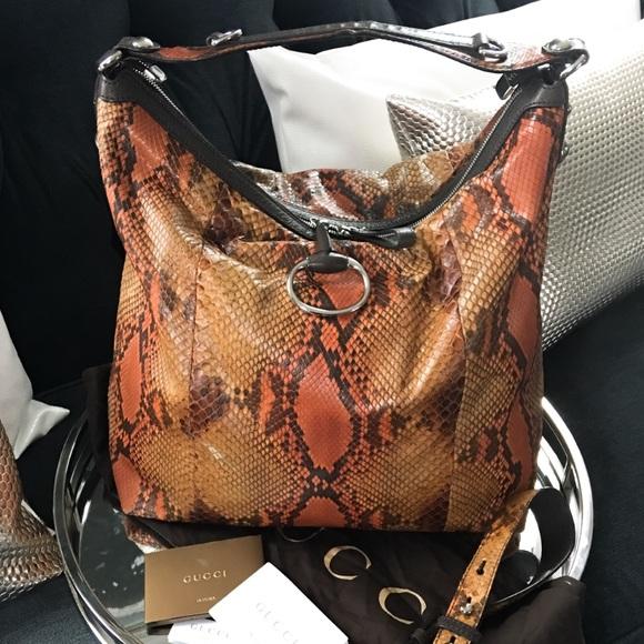 c3d0acaf513b Gucci Handbags - Traded  2900 Gucci Python Orange Icon Bit Hobo Bag