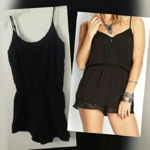 Ambiance Apparel Tops - Black lace romper