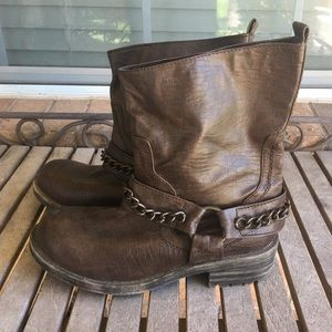 Brown Candies Motorcycle Boots With Chains
