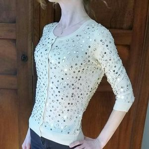 Cream Halogen Nordstrom sequined cardigan XS