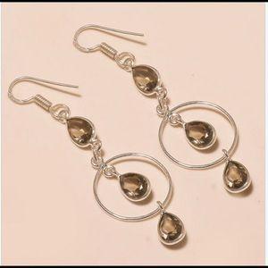 Jewelry - Smokey Topaz & Silver Dangle Earrings
