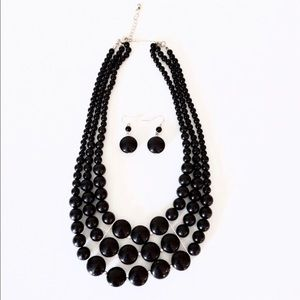 Black Chunky Layered Statement Necklace NWOT