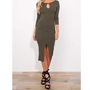 Dresses & Skirts - Olive green midi dress LAST ONE
