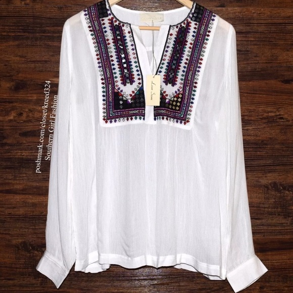 LOVE SAM Top Embroidered Mirror Peasant Blouse L S c02ee6a3f