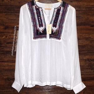 Love Sam Clothing Tops - LOVE SAM Top Embroidered Mirror Peasant Blouse L/S