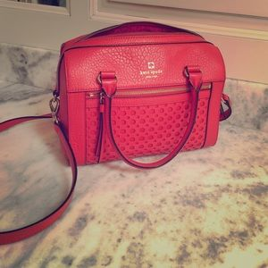 Kate spade leather satchel medium red coral