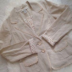 Anthropologie Jackets & Blazers - Nick&Mo Crochet Trim Linen/Cotton Pinstripe Blazer