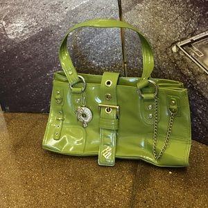 Patent apple green double handles purse