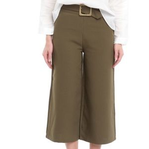 Olive green high waisted wide leg pants