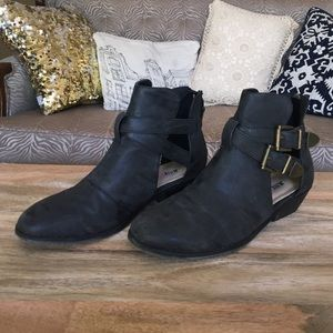 Just Fab distressed leatherette booties