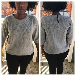 august silk Sweaters - Gray Zippered Back Sweater