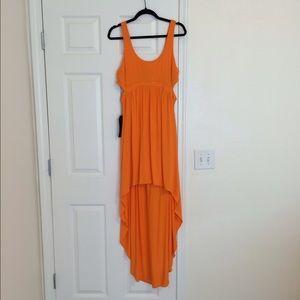 Orange Cut Out High Low Dress