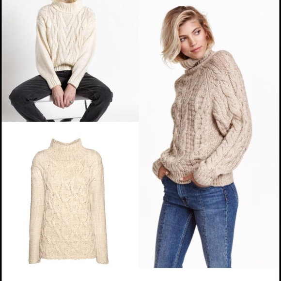 81% off H&M Sweaters - H&M Cable Knit Oversized Mock Turtleneck ...