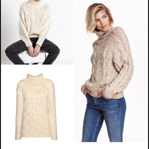 H M Sweaters - H M Cable Knit Oversized Mock Turtleneck Sweater 8e9892a08