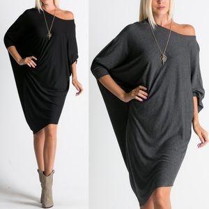 ADILYN loose fit dolman style dress - BLACK