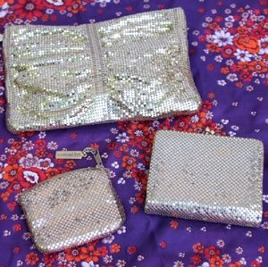 Set of 3 Whiting Davis Gold Chainmail Purses