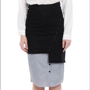 asymmetrical black denim skirt
