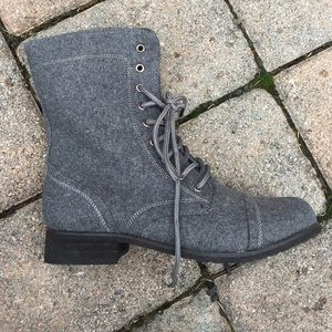 Lace Up Grey Boots