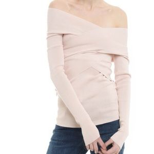 Off the shoulder fitted ribbed top