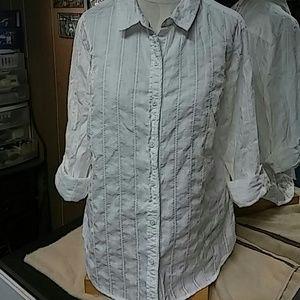 Laura Scott Tops - Textured weave white shirt