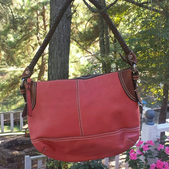 fa05e38343c1 Fossil Handbags - Fossil Leather Hobo Bag with Brown Braided Handle