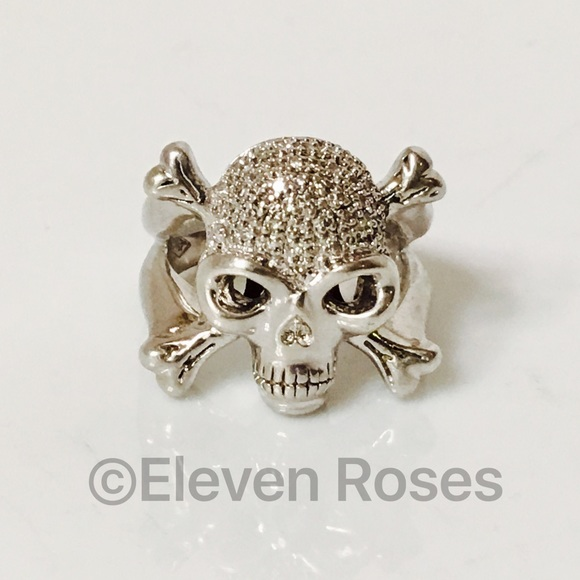 Jewelry Large Sterling Diamond Skull Crossbones Ring Poshmark