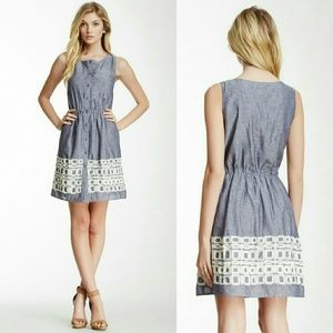 Tulle embroidered chambray dress