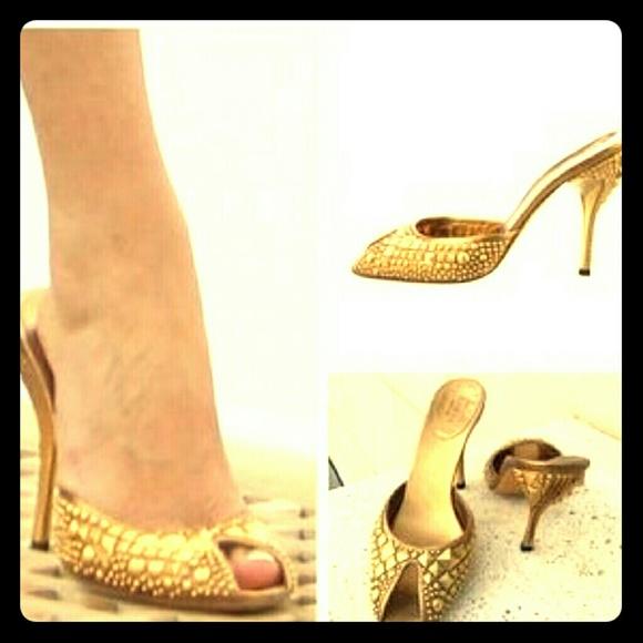 Gold Studded Peep Toe