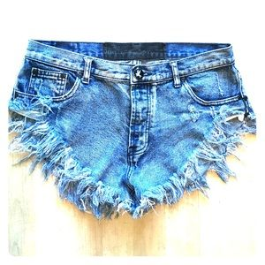 One Teaspoon High Waisted Denim Shorts Size 28
