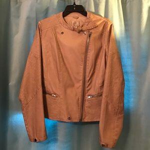 RD Style Faux Leather Jacket, Blush/Beige, SZ L