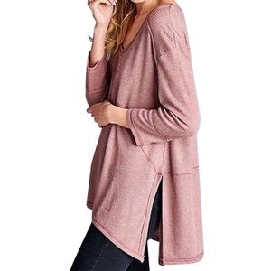 Southern Girl Fashion Sweaters - SWING TUNIC Ribbed Thermal Pullover Layering Top