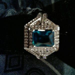 Blue green topaz wedding set