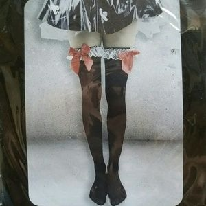 New Black Knee High Red Bow Socks Kawaii Halloween