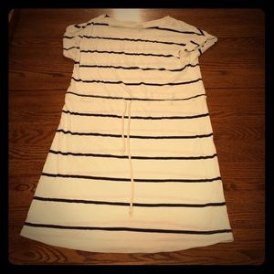 White with navy stripe dress