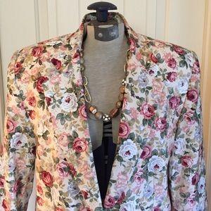 Vintage Jackets & Blazers - •VTG• 1980's Ann Taylor Floral Blazer!
