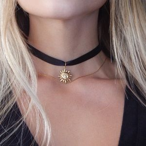 Gold Sun Thin Black Choker Necklace ✨