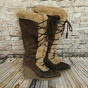 Sam Edelman Boutique Faux Fir Winter Boots Sz 6