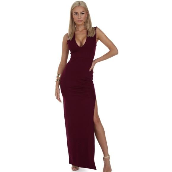 WINDSOR Dresses & Skirts | Burgundy Deep V Long Cocktail Dress ...