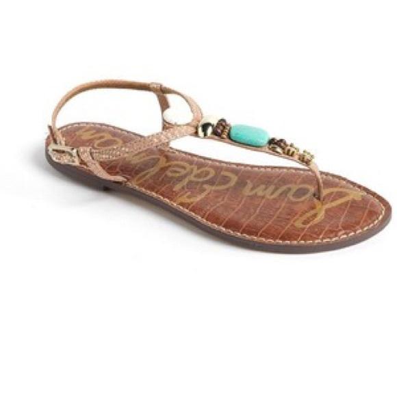 Glenna Embellished Stone Sandals Sz