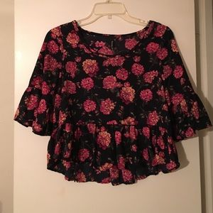 Black and Pink Floral Crop Top
