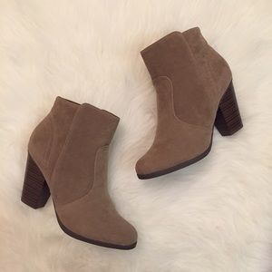 Boutique Shoes - Taupe Suede Heeled Ankle Boots